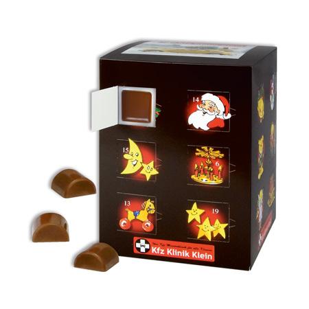 Schokoladen Adventskalender Turm mit 24 einzelnen Schokoteilen