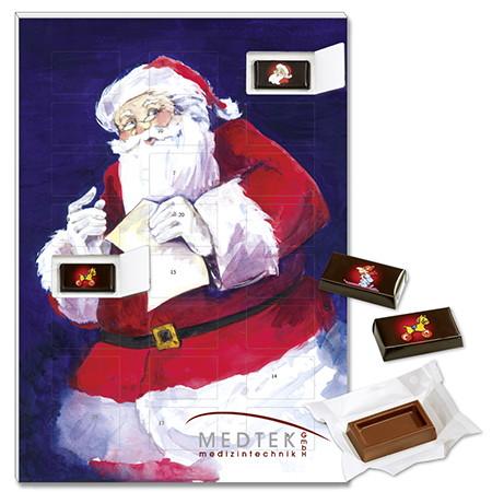Schokoladen Adventskalender mit einzelverpackten Schokotafeln