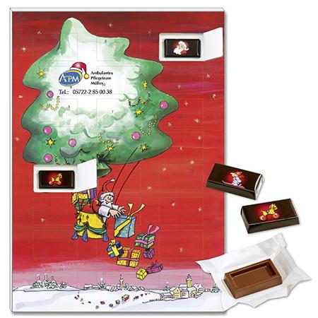 Schokoladen Adventskalender mit einzelverpackten Schokotäfelchen