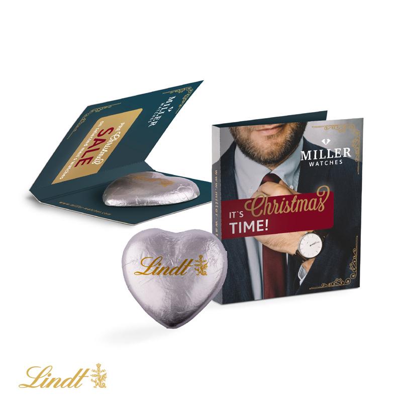 Werbekarte mit Schokoladeherz von Lindt